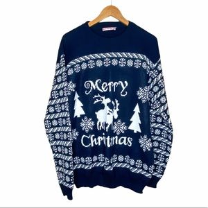 Men's Ugly Sweater for X-Mas Blue size XL